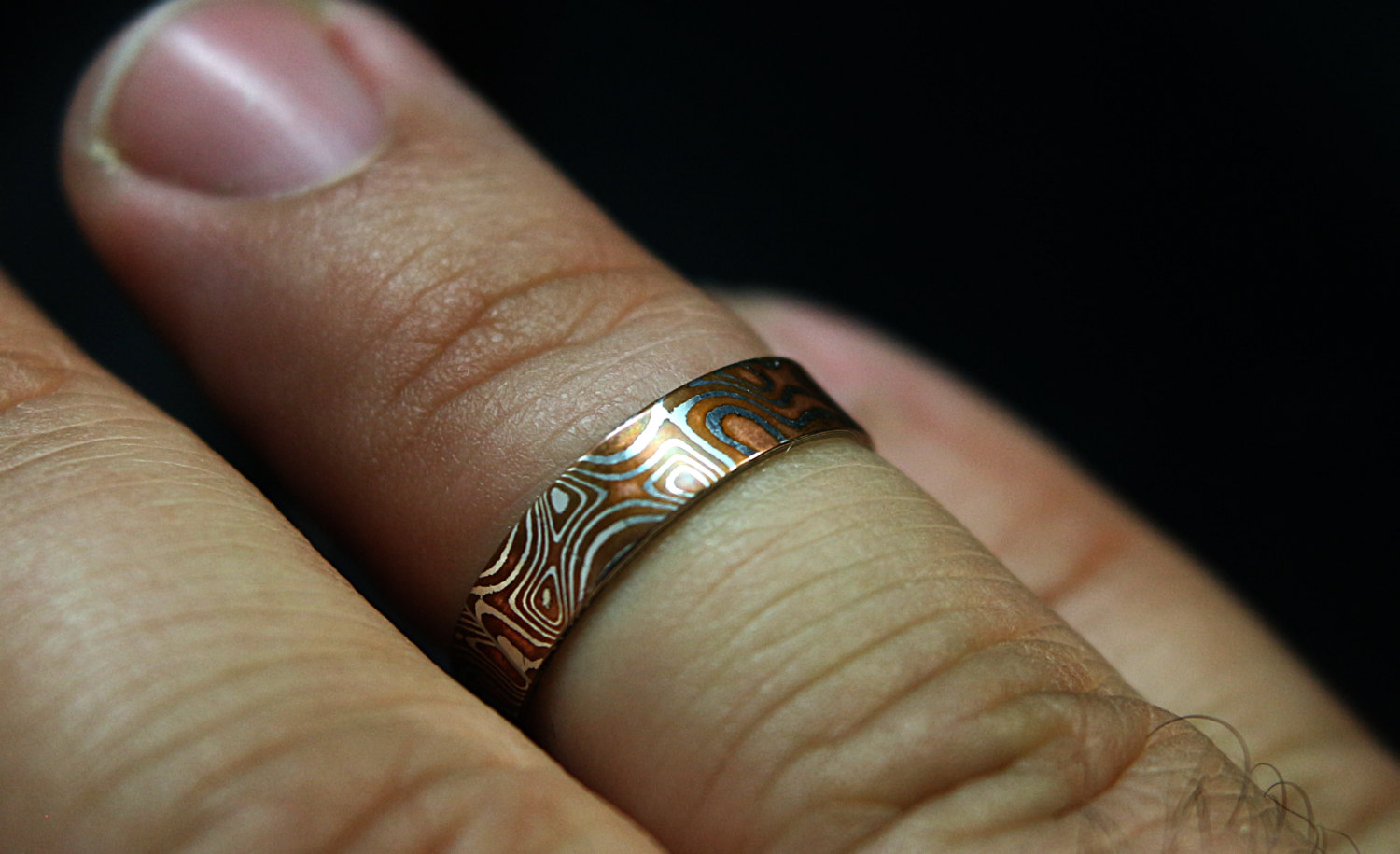 meteorite ring gane titanium johan mokume wedding with blue jewelry band collections by rings