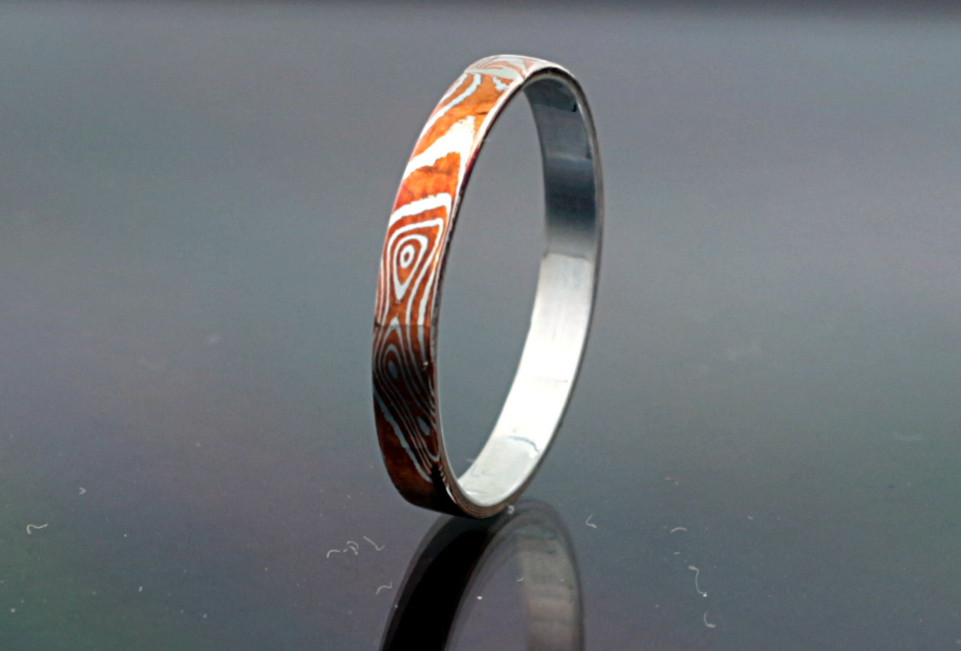 edges rings gane wavy with titanium blue ring mokume band products wedding