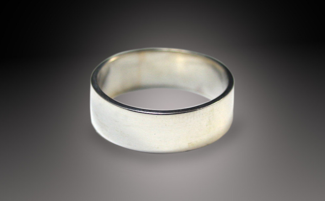 Mens Silver Wedding Ring Wide Band 6mm Flat Edge Solid Sterling Custom Made In YOUR Size