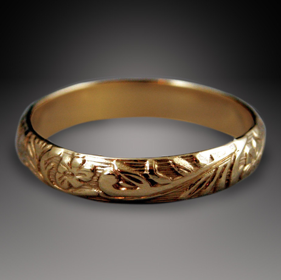 neoclassical and leaf made store filled gold to flower band ring wedding order floral bands pattern
