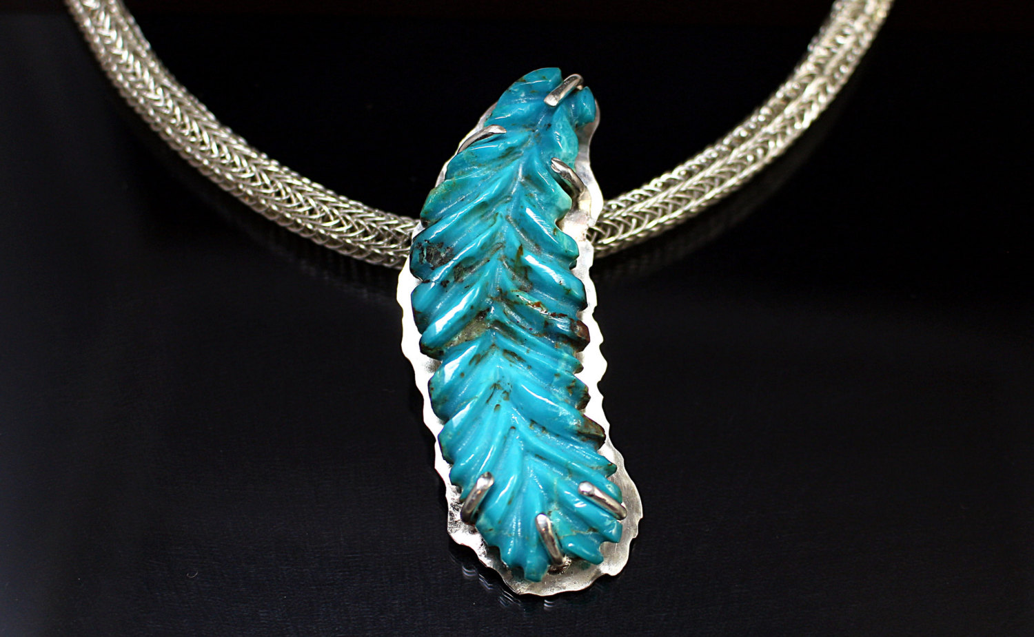 Blue Turquoise Feather Carving Pendant 925 sterling silver 999 fine ...